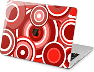 """Cavka Hard Shell Case for Apple MacBook Pro 13"""" 2019 15"""" 2018 Air 13"""" 2020 Retina 2015 Mac 11"""" Mac 12"""" Laptop Concentric Print Circles Design Red Geometry Abstract Protective Plastic Modern Cover"""