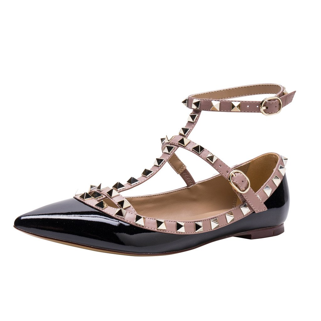 Kaitlyn Pan Studded Strappy Ballerina Leather Flats B01B77YMGM 6.5US/ 37EU/ 37CN|Black Patent/Nude Trim/Gold Studs