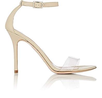 c7cc65a02401f Amazon.com | Women Black Faux Suede High Heel Transparent Clear PVC Ankle  Strap Sandals Ladies Beige | Heeled Sandals