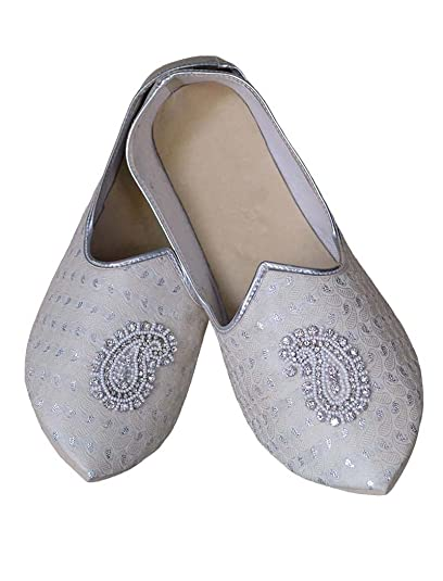 Mens Silver Wedding Shoes Paisley Embroidered MJ0782