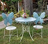 Outdoor/Indoor Butterfly Bistro set, set of 3 (2 chairs, 1 table) (Antique Blue)