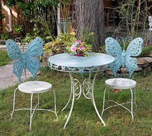 Outdoor/Indoor Butterfly Bistro set, set of 3 (2 chairs, 1 table) (Antique Blue) by Zaer Ltd.