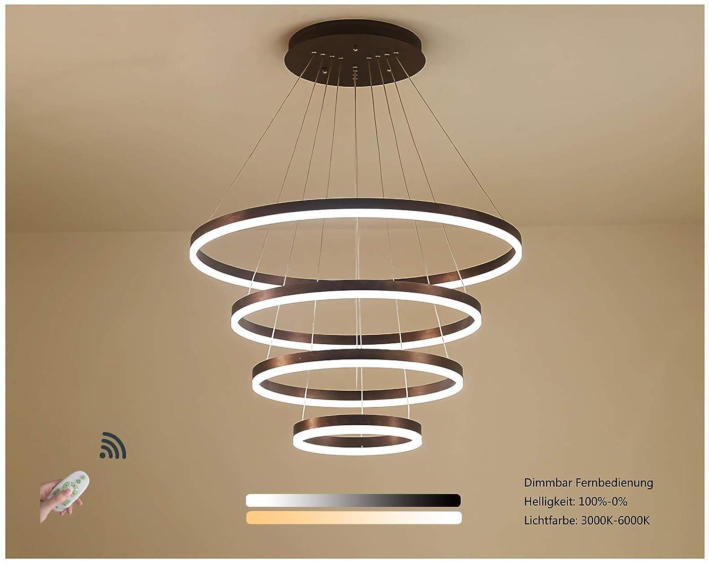 Dimmbar mit Fernbedienung Lichtfarbe und Helligkeit Einstellbar Pendelleuchte LED Modern Kronleuchter Runde 4 Ringe Designleuchte Wohnzimmer Esszimmer Wohnung Hall Lampe Aluminium Acryl Beleuchtung