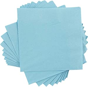 JAM PAPER Small Beverage Napkins - 5 x 5 - Sea Blue - 50/Pack