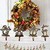 LITTLEGRASS Set of 4 Christmas Stocking Holder Classical Metal Stocking Hangers for Fireplace Mantle Free Standing Christmas Decorations Indoors Deer Snowman Sata Snowflake Holders Xams Decor (1 Set)