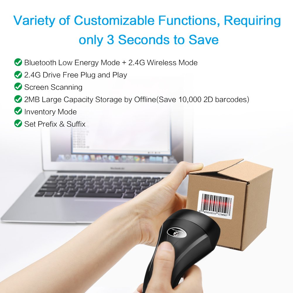 2D Barcode Scanner Koolertron 3-in-1 1D 2D Barcode Scanner Compatible with Bluetooth Wireless /& 2.4GHz Wireless /& USB for Laptop PC Android iOS 2.4G /& Wireless 2D Scanner
