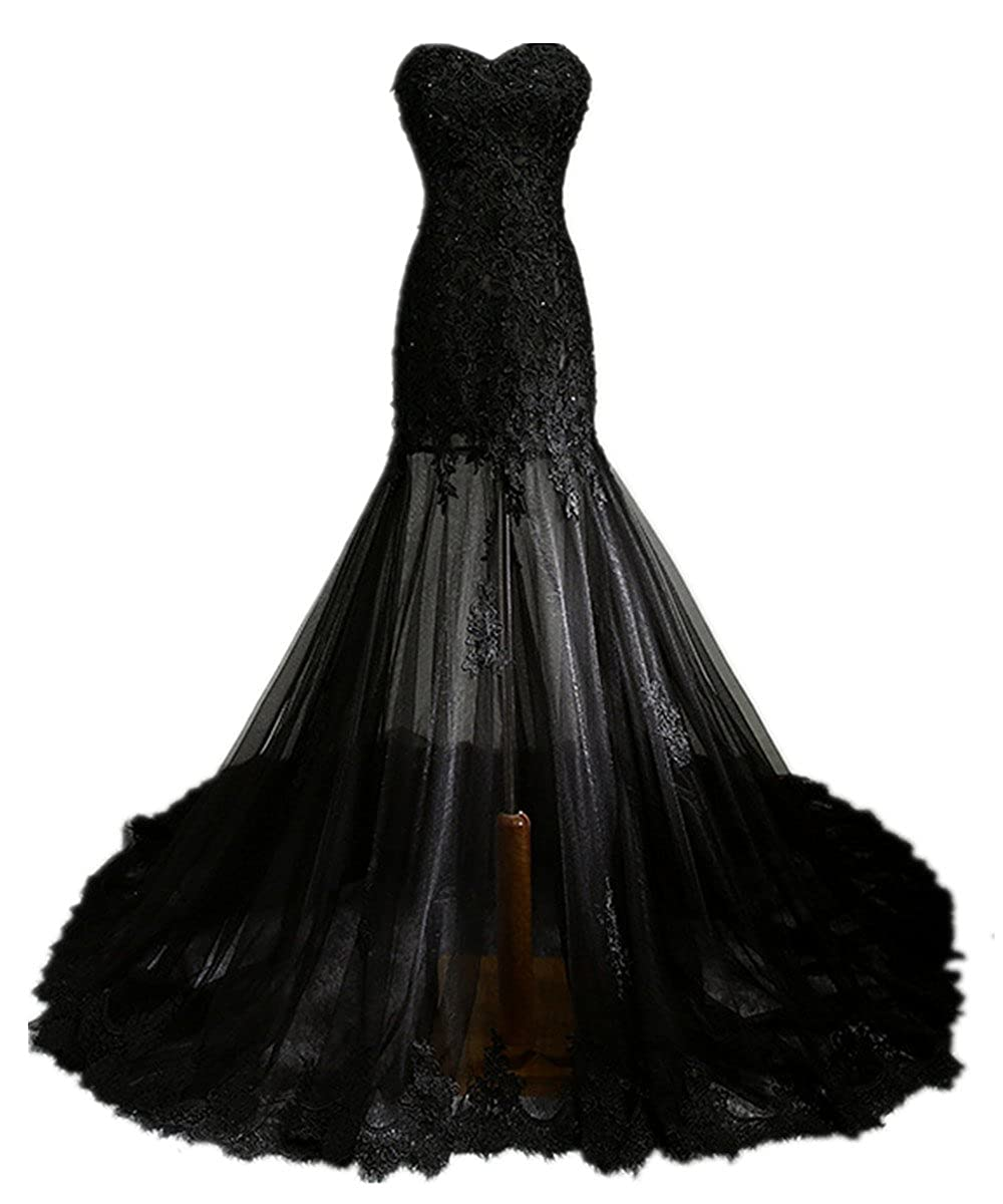 5695b4aefc Zorabridal Vintage Gothic Mermaid Beaded Lace Black Wedding Dress for Bride  at Amazon Women's Clothing store: