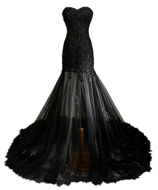 zorabridal Vintage Gótico De Sirena Negro de encaje con cuentas vestido de novia para novia