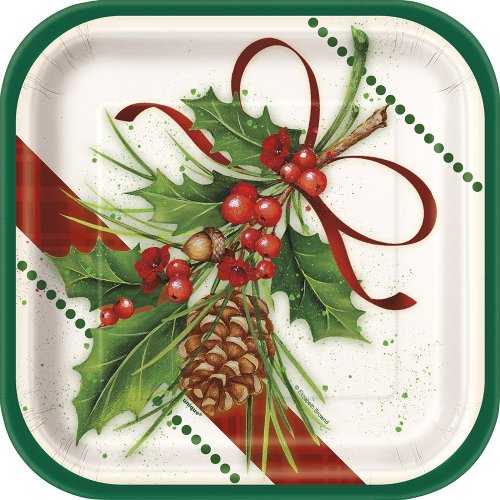 Square Holly Holiday Dessert Plates
