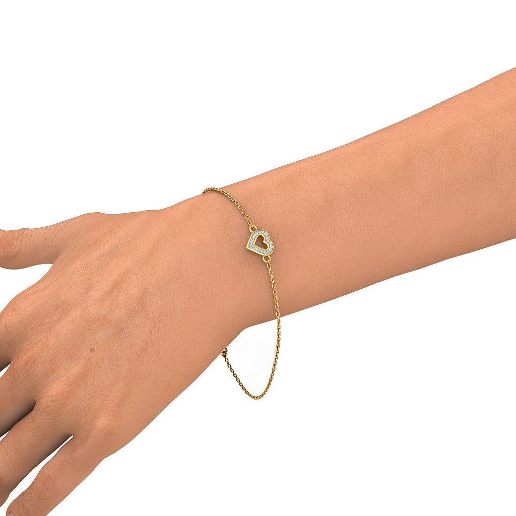 identification-bracelets Size 14K Yellow Gold HallMarked 6 inches IJ| SI 0.06 cttw Round-Cut-Diamond