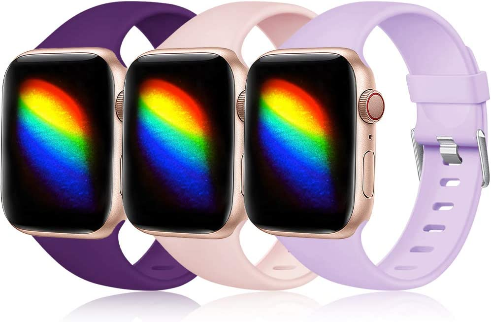 Haveda Sport Compatible for Apple Watch Series 5 Series 4 40mm Band, 38mm iWatch Bands Womens Breathable Wristband for Apple Watch 38mm Series 3 2 1 Men, 3pack Purple/Lavender/Pink 38mm/40mm S/M