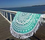 beautiful Angela Tassel Fringing Indian Mandala Round Roundie Beach Throw | Tapestry, Yoga Mat, Polyester Table Cloth, Wall Hanging | 60'' Diameter, Polyester, Mint Green