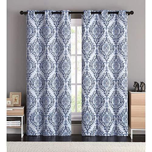 DH 2 Piece 96 Inch Blue Solid Color Damask Window Curtains Panel Pair Set, Light_Blue Color Ikat Pattern Floral Natural Feel Print Bohemian Vibrant Grommet Top Lined Blackout Drapes, -