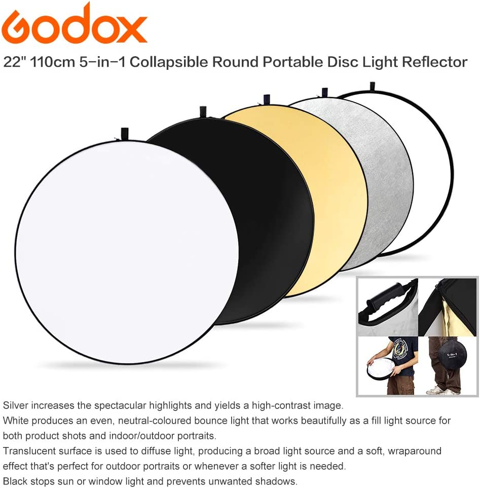 5 in 1 Round Reflectors Foldable with Carry Bag Godox RFT-05