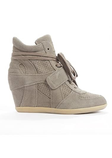 24a209ff9101 Ash - Bowie Calf Suede Wedge Trainers - Stone