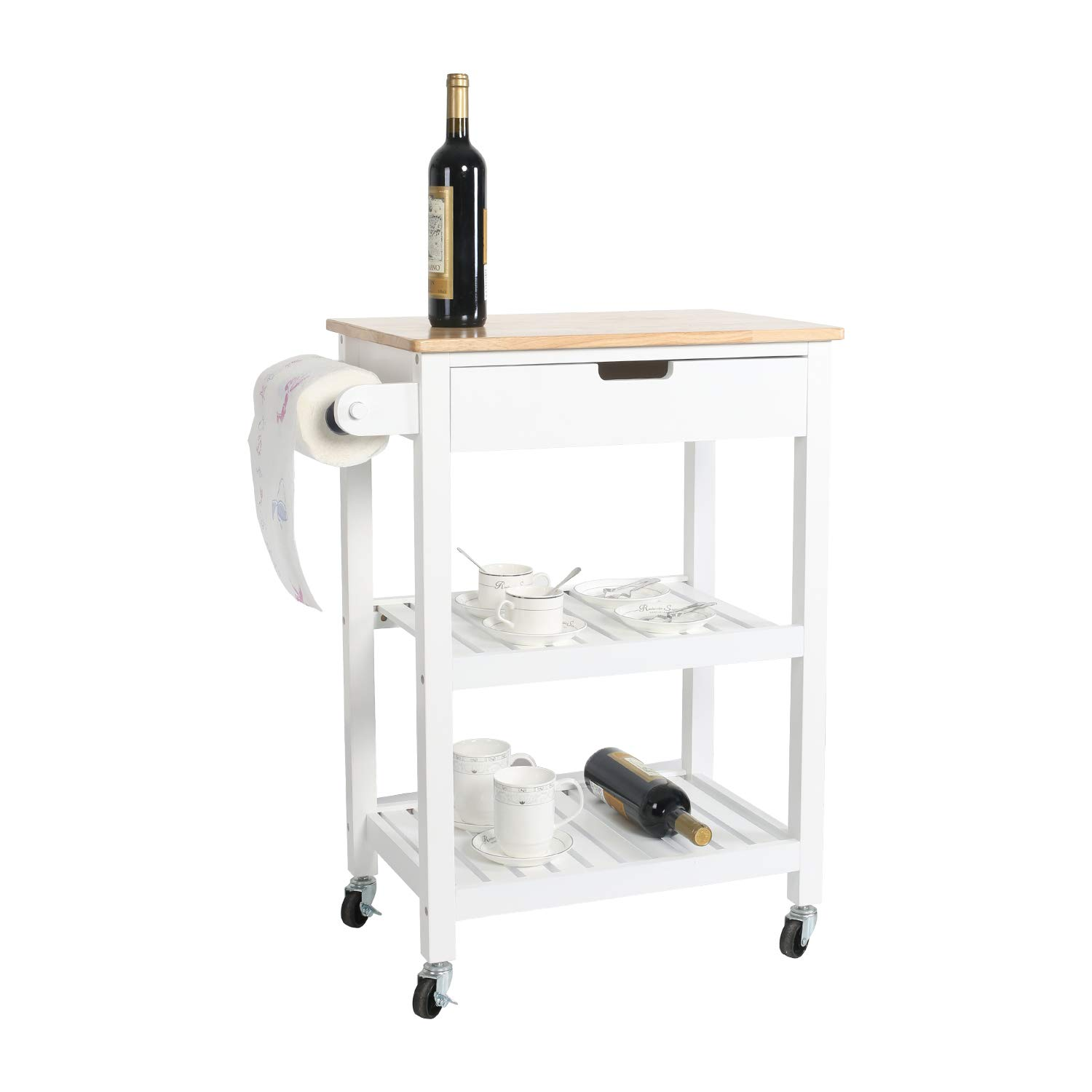eclife Kitchen Islands Cart Rolling Kitchen Cart White Drawer Storage W/Wheels, 33''L x 22.8''L x 15.7''W, for Dining Rooms Kitchens & Living Rooms (White)