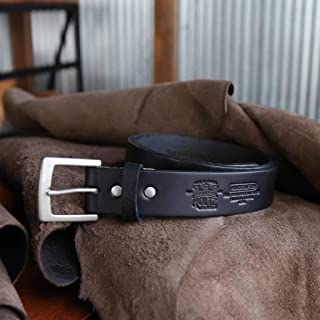 product image for No. 201 Fine Leather Belt in Black – Personalized Custom Belt – with Secret Message – Square Nickel Buckle