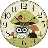 """ChezMax 12"""" Vintage European Creative Frameless Wooden Electronic Wall Clock of Country French Style DIY Assembling Clock"""