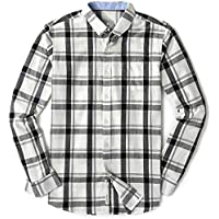 MOCOTONO Mens Long Sleeve Plaid Checked Button Down Cotton Casual Shirts