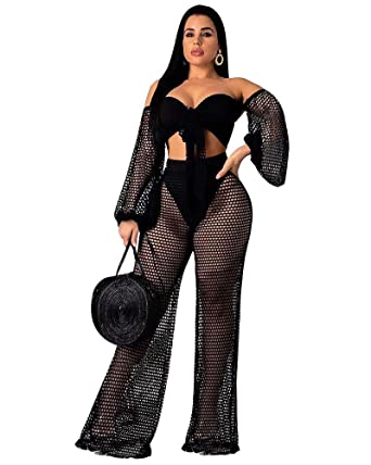 62c5d6b24e2 Women Sexy 2 Piece Outfits Swimwear Cover ups Jumpsuits Pant Sets Off  Shoulder Crop Tops Black