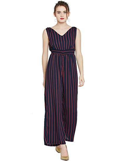 565d5477bb52 Marie Claire Navy   Red Striped Jumpsuit (MC793-L)  Amazon.in ...