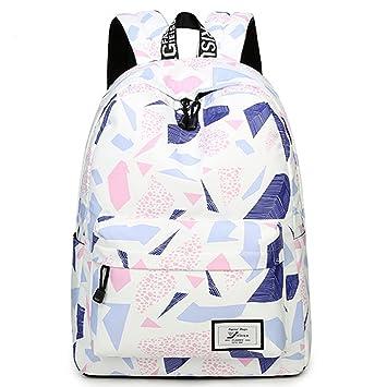 0655d5b990 Uniuooi Canvas Secondary School Bag Backpack for Teenage Girls Boys 14 inch  Laptop Bag Waterproof Geometric