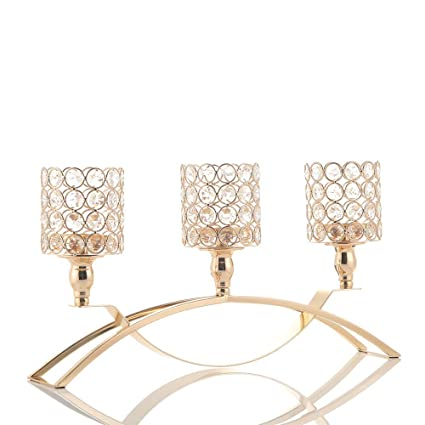 Admirable Amazon Com Vincigant Gold Crystal Candle Holders Interior Design Ideas Inesswwsoteloinfo