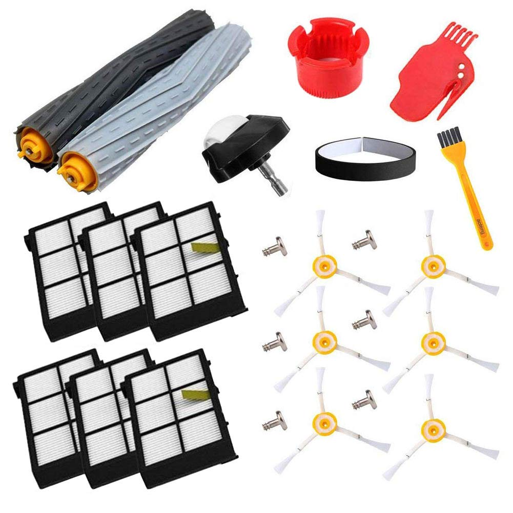 aoteng Replacement Roomba Parts for iRobot Roomba 980 960 900 890 880 870 860 800 Robotic Vacuum Cleaner (Hepa Filters, Side Brushes, Screws,wheel,Cleaning Tools,Extractor) (style 1)