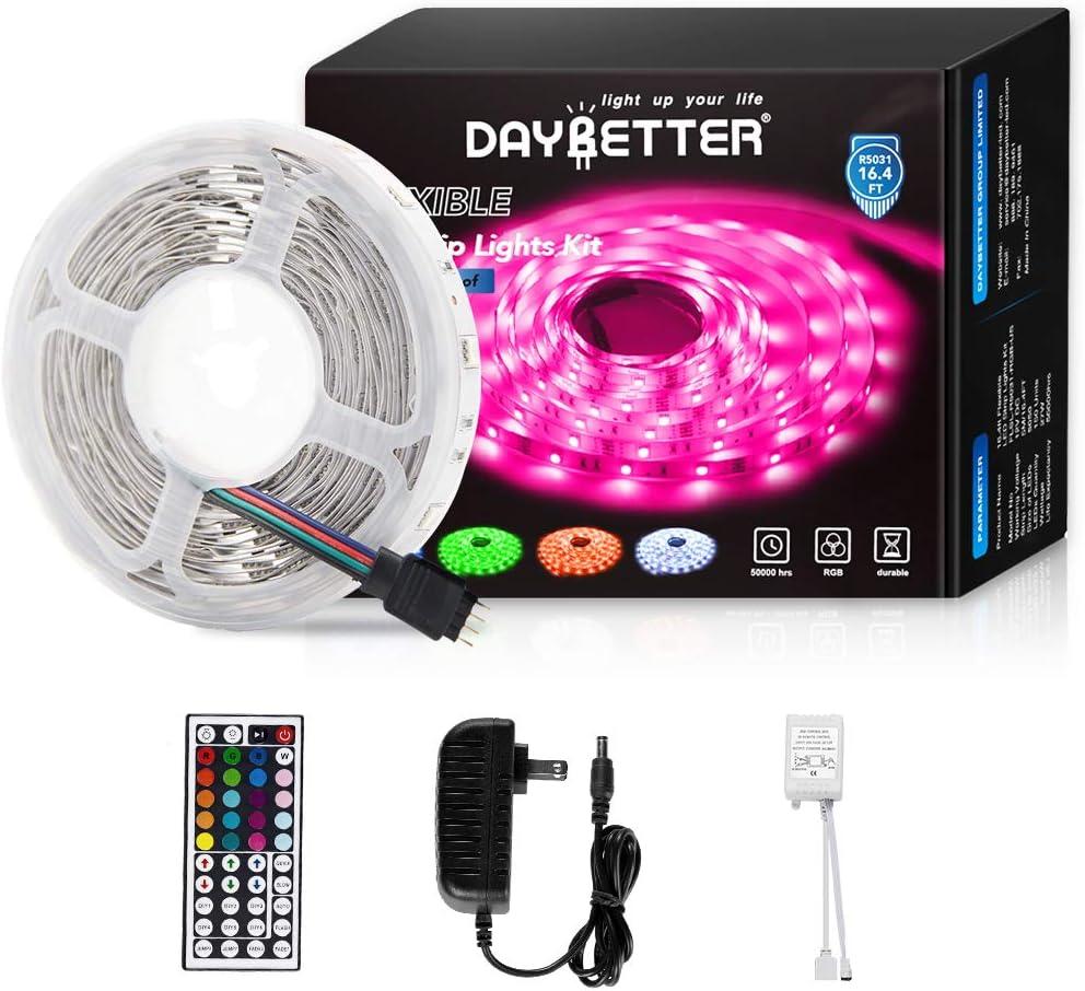 Daybetter Led Strip Lights 16.4ft 5m Flexible Color Changing RGB Led Light Strip 5050 150leds LED Tape Lights Kit with 44 Keys IR Remote Controller and 12V Power Supply: Home Improvement