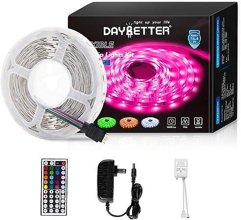 Led Strip Lights 16 4ft 5m Flexible Color Changing Rgb Led Light Strip 5050 150leds Led Tape Lights Kit With 44 Keys Ir Remote Controller And 12v