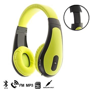 DAM. DMT169GREEN. Cascos Bluetooth hasta 30M. con Manos Libres. Reproductor Mp3, Radio FM, Tarjeta Micro SD. Diadema Ajustable Y Acolchada. Verde