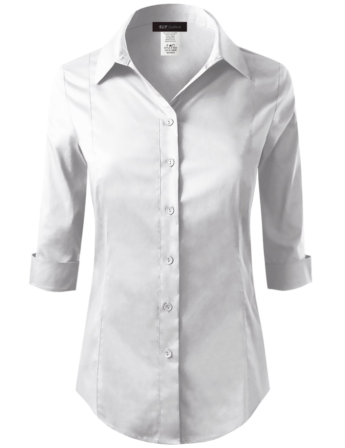 ELF FASHION Roll up 3/4 Sleeve Button Down Shirt for Womens Made in USA (Size S~3XL) White 3XL