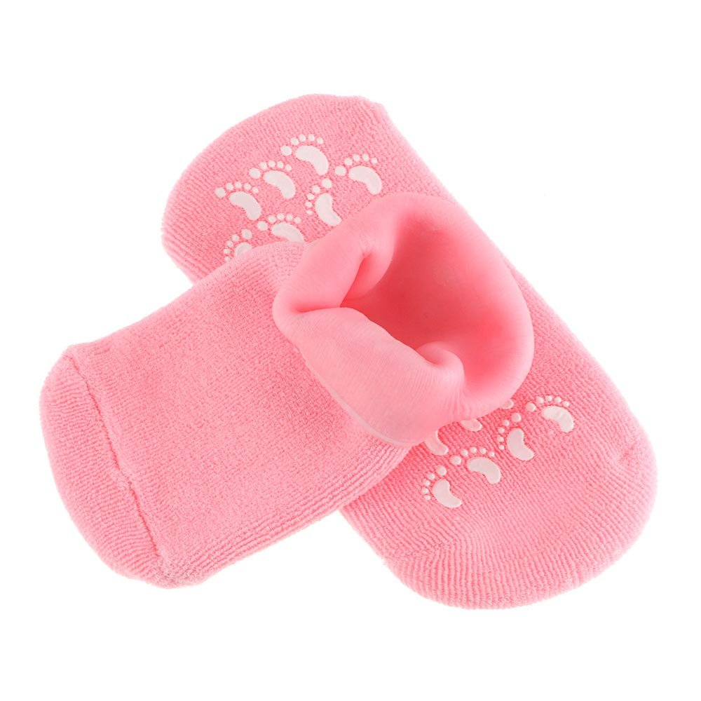 TraderPlus Moisturizing Gel Socks with Spa Quality Gel for Moisturizing Vitamin E and Oil Infused, Gel Socks Helps Repair Dry Cracked Skins and Softens Feet Pink