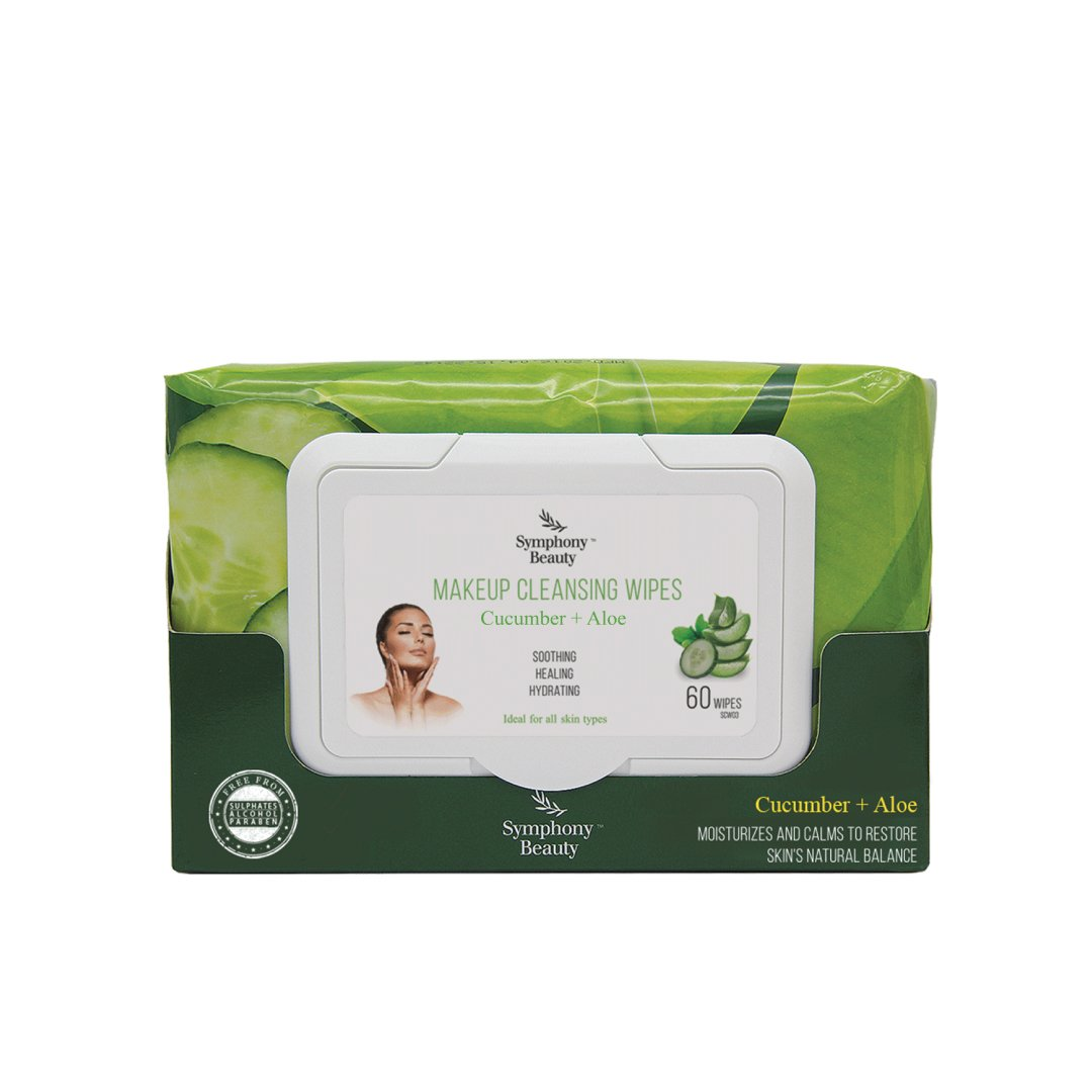 Symphony Beauty Makeup Cleansing Wipes, Cucumber & Aloe