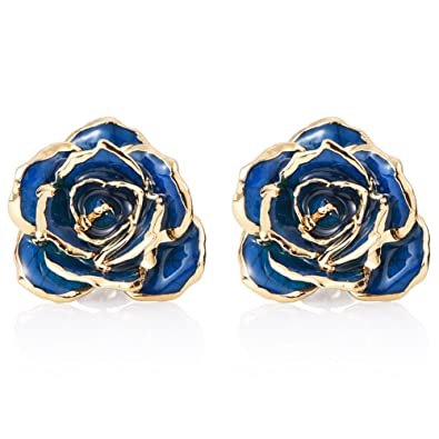 Amazoncom ZJchao Women Flower Stud Earrings Dipped 24K Gold