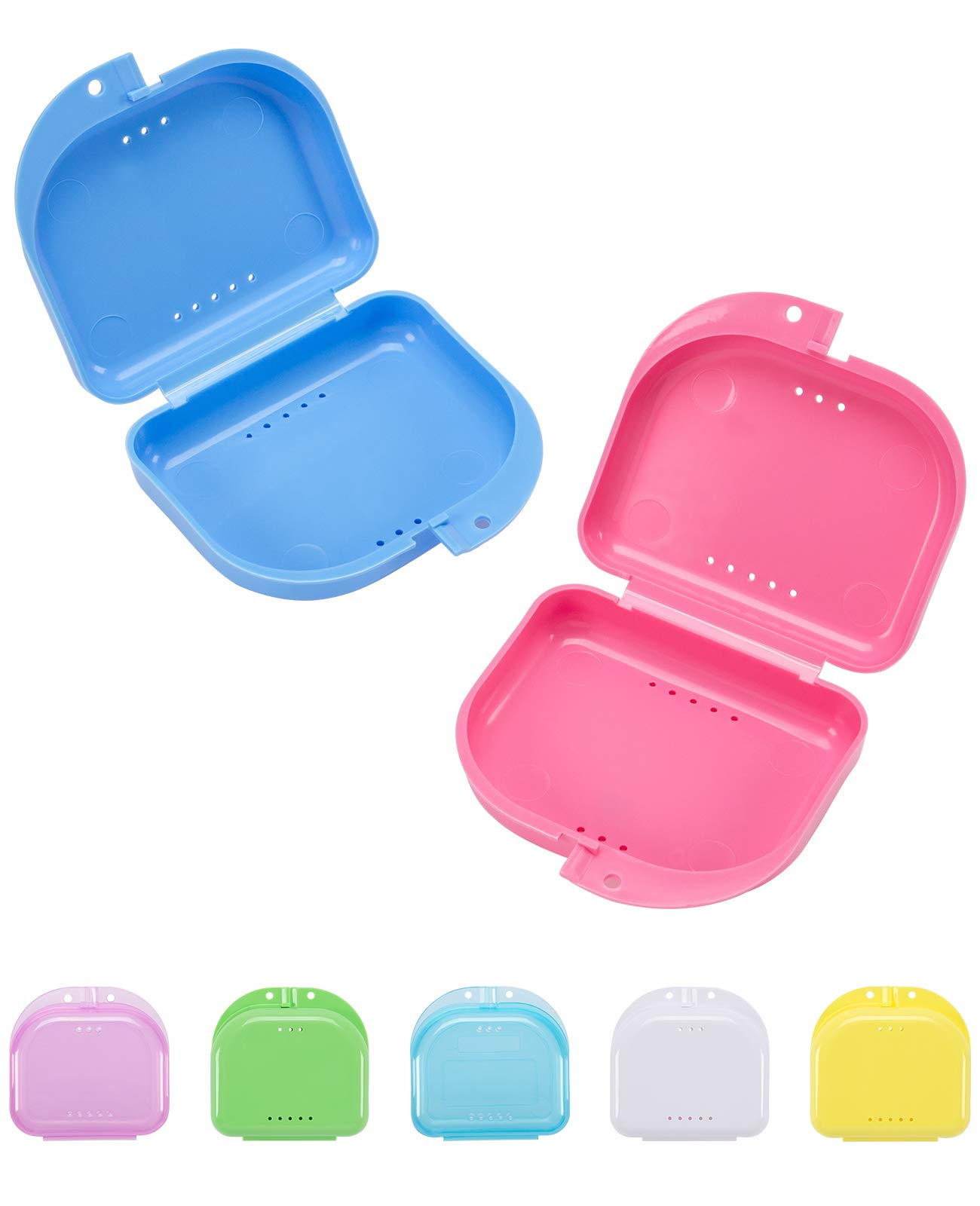 Madholly 7 pieces Orthodontic Retainer Case, Mouth Guard Case, Denture Storage Container Box With Vent Holes