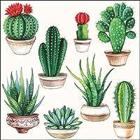 Ambiente servilletas de cena / fiesta ca.33x33 Cactus White - Perfetto Como Regalo