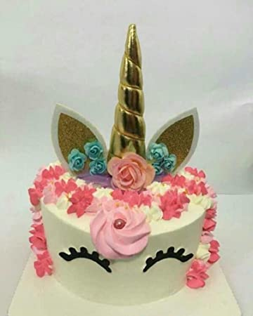 Handmade Unicorn Birthday Cake Toppers Set Horn Ears And Flowers