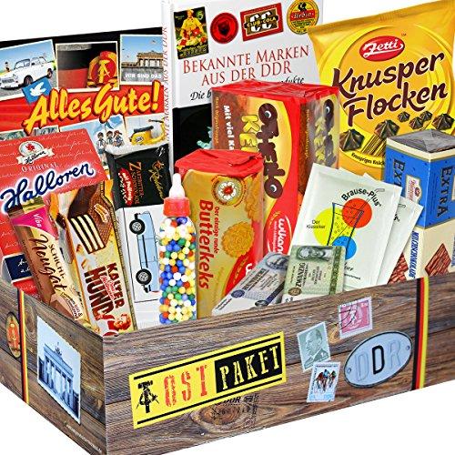 Ostprodukte Süssigkeiten Box INKL Buch- Zetti Knusperflocken Vollmilch, Halloren-Kugeln Classic, Viba Nougat Stange uvm. +++ Ost Waren DDR Box als Geschenkkorb mit Kultprodukten der DDR ++ inkl. Buch