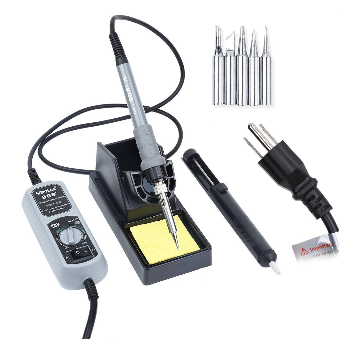 Soldering Iron Kit Electronics 60W Soldering Iron Tool, 60W 110V Welding Solder Iron with ON-OFF Switch Module, 104 Inch Power Cord, Soldering Stand Holder,5 Iron Tips Kit(Clearance Deal!))