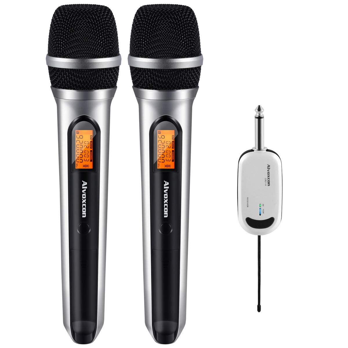 Wireless Microphone System, Alvoxcon DUAL UHF Dynamic Handheld mic for iPhone, Computer, Karaoke, Conference, DJ, Vocal Recording, Singing, Church, On Stage Performance, Party Events (1/4 inch plug) by Alvoxcon
