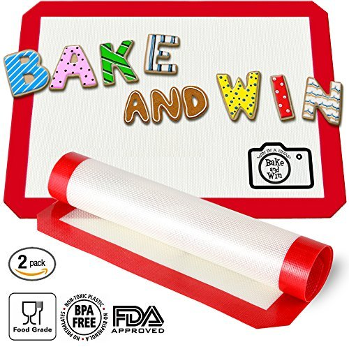 k Silicone Baking Mat. Large Half Sheet: 16 1/2 inches x 11 5/8 inches (Pecan Roll Pan)