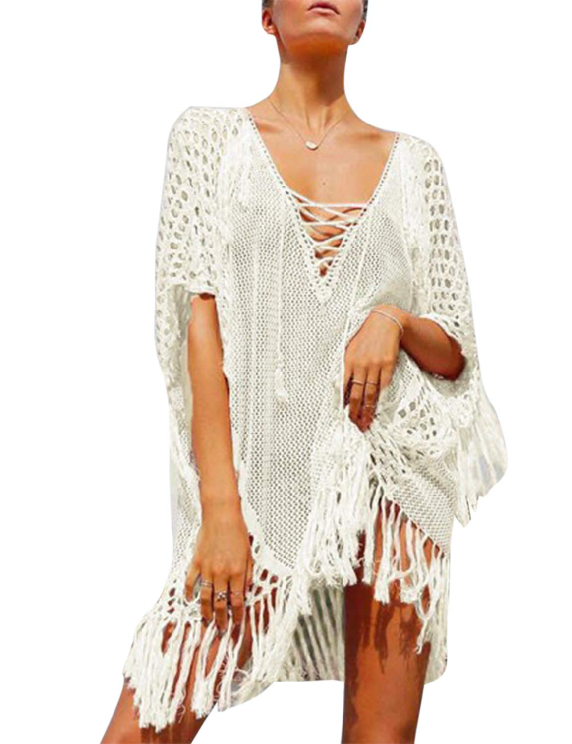 MAY Women's Bell Sleeve Lace Up Crochet Tassel Swimsuit Cover Up White
