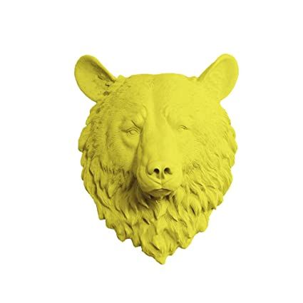 Wall Charmers Bear in Yellow - Faux Head Bust Mounted Fauxidermy - Fake Animal Art Taxidermy Decorative Resin Mount Decor Replica