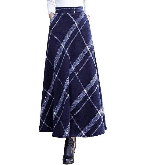 a395340cfb6afc RIZ-ZOAWD Femme Vintage Élégant Carreaux rayé Longue Jupes de Laine Automne  Hiver Taille élastique Chaud A-Ligne Taille Haute Jupe plissée