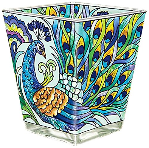 Amia 42019 Hand Painted Glass Petite Votive, 3-Inch, Peacock Design -