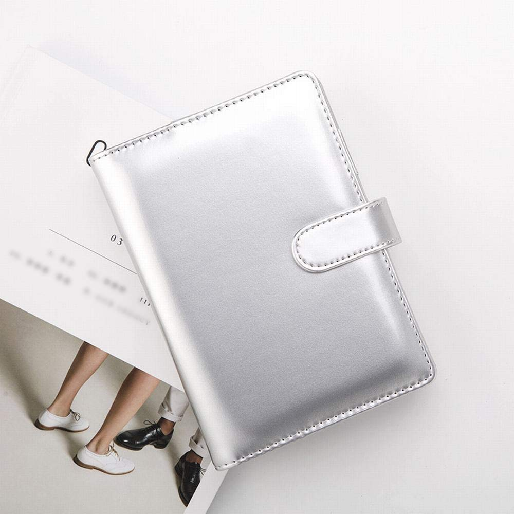 Sinngukaba A6 Imitation Leather Loose-Leaf Notepad Business Journal Notebook, 85 Page, 1 Notebook, A Grade Paper (Color : Silver)