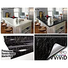 Black Marble Gloss Vinyl Architectural Wrap for Home Office Furniture Wallpaper Tile Sheet 6.5ft x 15.9 Roll (6.5ft x 15.9 1 roll) by VViViD