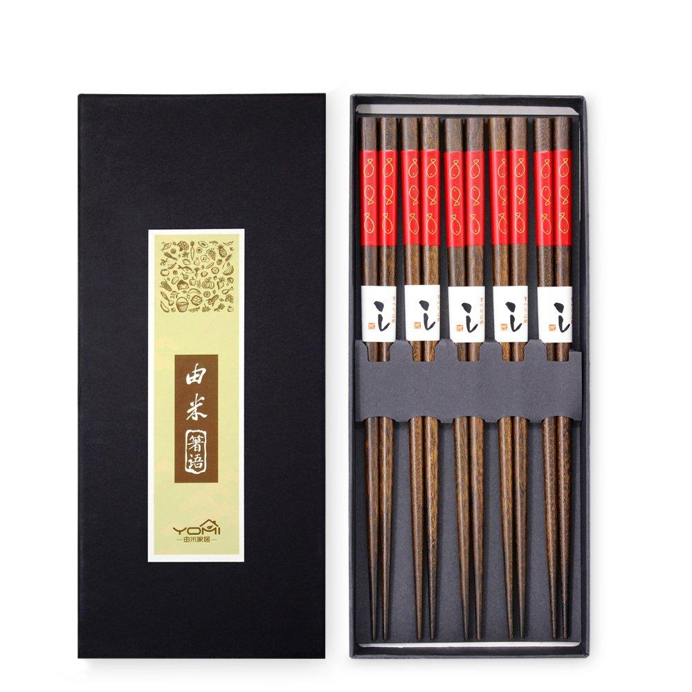 Chopsticks 5 Pairs Japanese Hardwood Chop Sticks Natural Reusable Classic Style Chopstick Gift Set with Box(Red Fish)