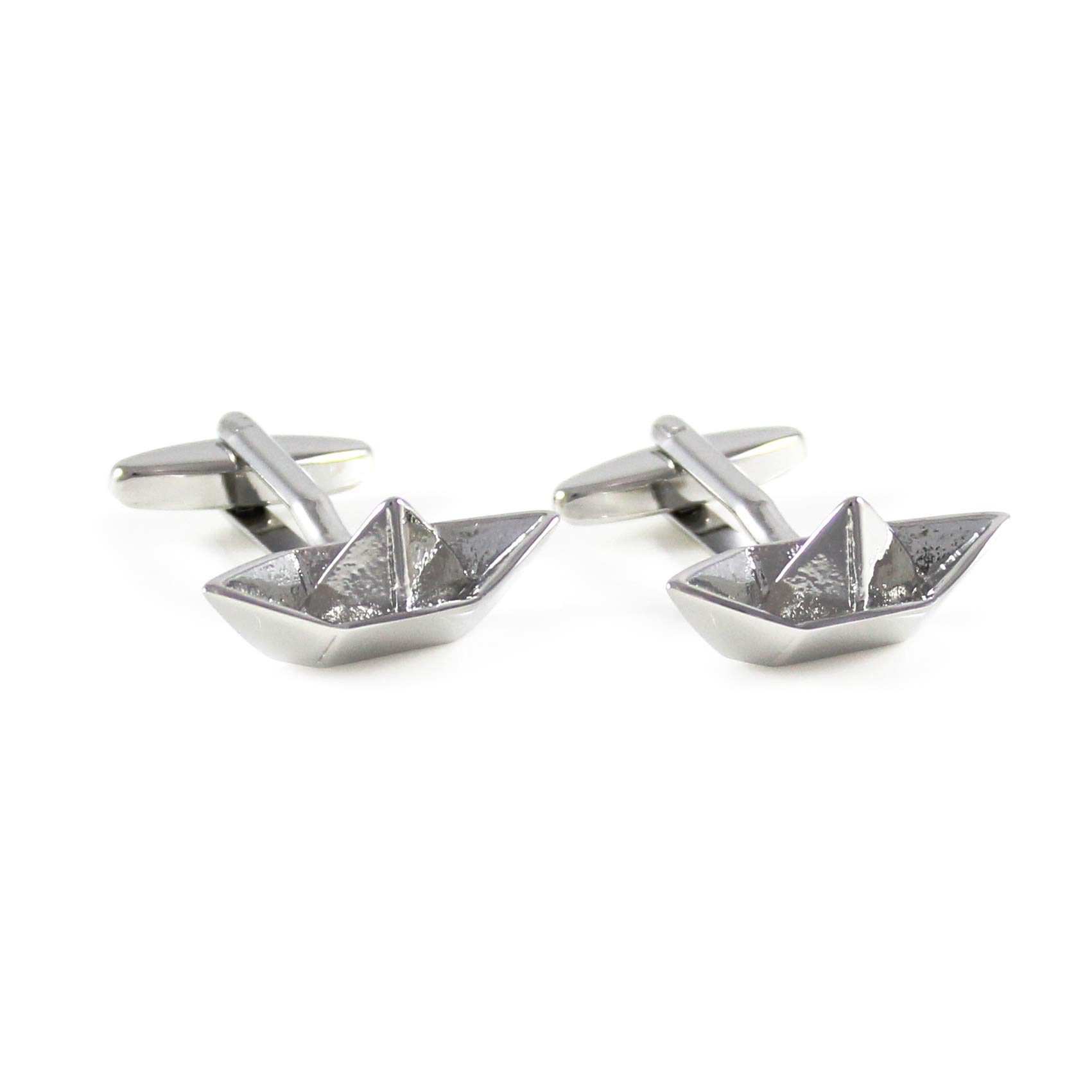 MENDEPOT Rhodium Plated Silver Tone Origami Boat Cuff Links Paper Boat Cuff Links with Box